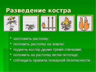 Правила разведения костра в лесу по пунктам